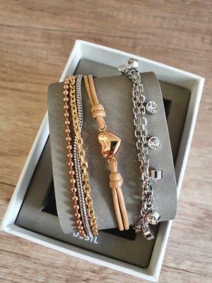 Fossil JGFTSET1042 Armband set rosè gold beige silber Armkette neu Geschenkset