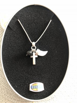 Fossil Kette Silber Kreuz