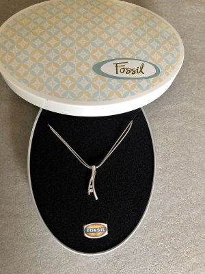 Fossil Necklace silver-colored real silver