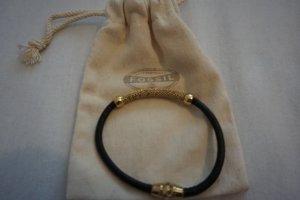 Fossil Leder Armband mit Goldelementen