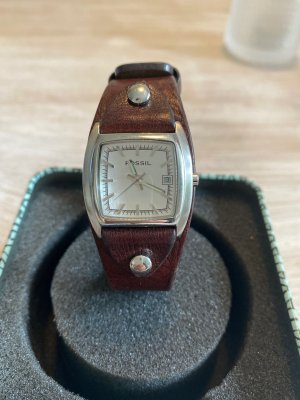 Fossil Watch With Leather Strap multicolored metal