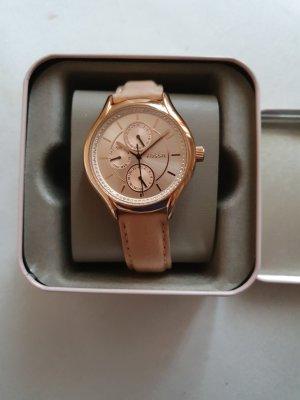 Fossil Reloj con pulsera de cuero beige claro