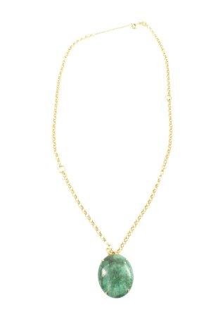 Fossil Medalik złoto-turkusowy Melanżowy Elegancki