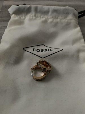 Fossil Pendientes de oro color oro