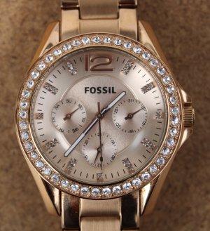 Fossil Riley ES2811 - Damenuhr in Roségold mit Zirkonia auf Stundenposition