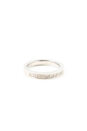 Fossil Ring mit Zierstein silberfarben Elegant