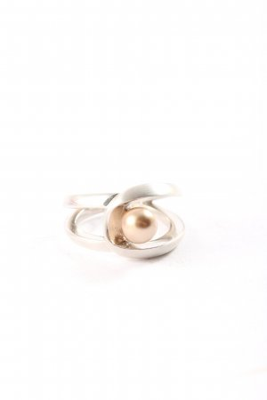 Fossil Silberring silberfarben-creme Casual-Look