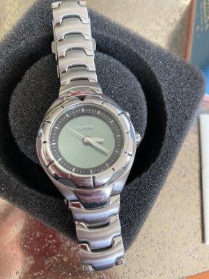 Fossil Spangen Uhr Silber grün Metall Spange