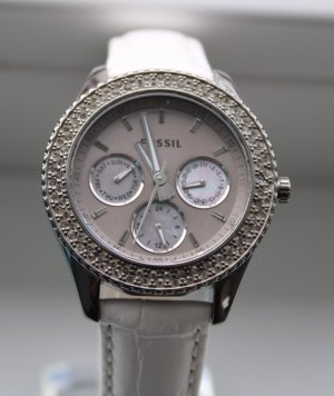Fossil Watch With Leather Strap grey-white