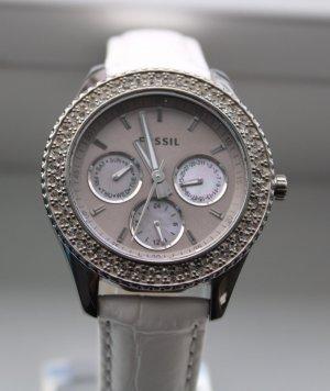 Fossil Reloj con pulsera de cuero gris-blanco
