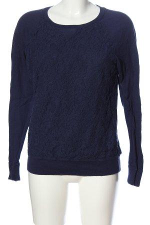 Fossil Pull tricoté bleu motif de fleur style décontracté