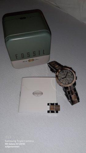 Fossil Reloj con pulsera metálica marrón grisáceo