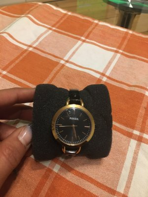 Fossil Watch With Metal Strap black-gold-colored