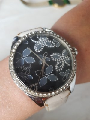 Fossil Horloge met lederen riempje wit-zilver