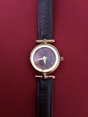 Fossil Watch With Leather Strap dark brown-gold-colored leather