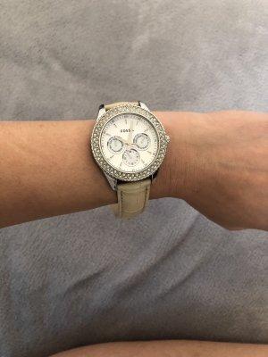 Fossil Montre avec bracelet en cuir crème-blanc cassé