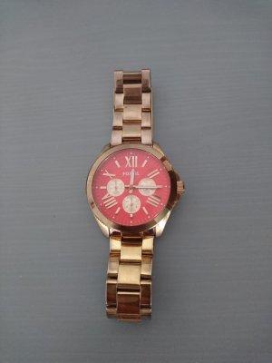 Fossil Horloge met metalen riempje goud-rood