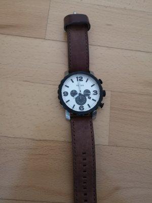 Fossil Montre avec bracelet en cuir noir-brun