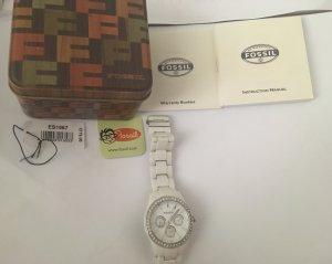 Fossil Fermoir de montre blanc-argenté