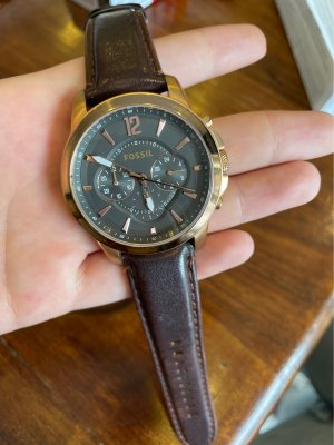 Fossil Watch With Leather Strap brown-rose-gold-coloured