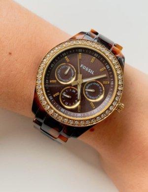 Fossil Uhr Damen - braun/gold