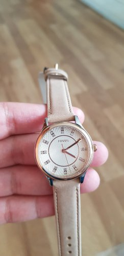 Fossil Watch With Leather Strap beige
