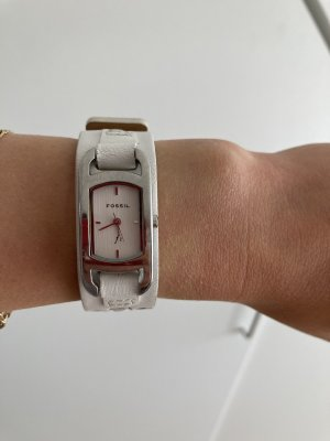 Fossil Watch With Leather Strap white-silver-colored