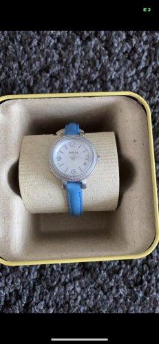 Fossil Horloge met lederen riempje korenblauw
