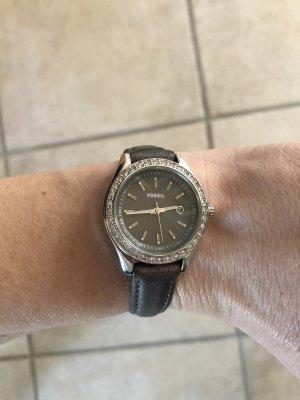 Fossil Montre avec bracelet en cuir gris foncé
