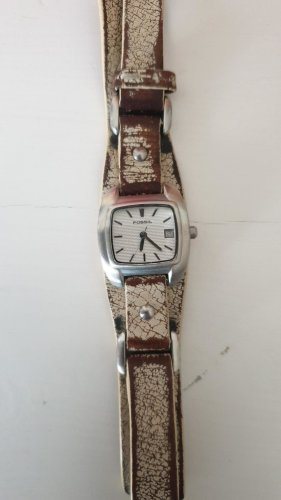 Fossil Watch With Leather Strap brown-cream
