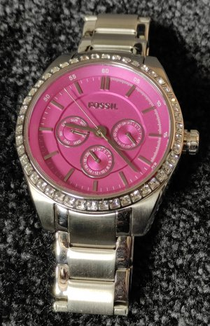 Fossil Uhr, Glitzersteine & pinkfarbenem Ziffernblatt, inkl. Box und Glieder, Limited Edition, neue Batterie, Neuwertig