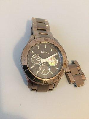 Fossil Horloge met metalen riempje brons Edelstaal