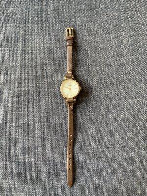 Fossil Horloge met lederen riempje lichtbruin-goud