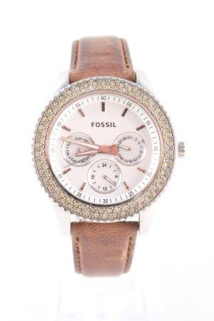 Fossil Montre avec bracelet en cuir brun style d'affaires