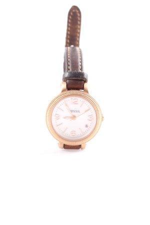 Fossil Horloge met lederen riempje bruin casual uitstraling