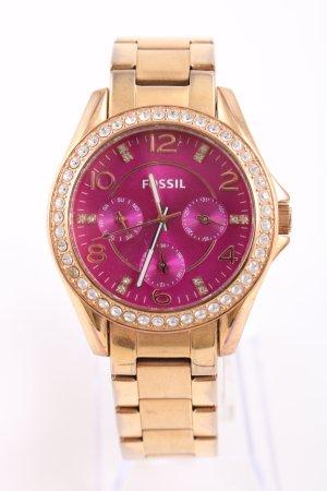Fossil Uhr mit Metallband goldfarben-pink Business-Look