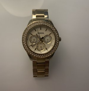 Fossil Uhr mit Steinverzierung Gold