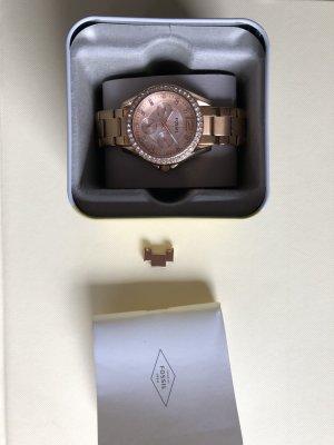 Fossil Zegarek z metalowym paskiem w kolorze różowego złota
