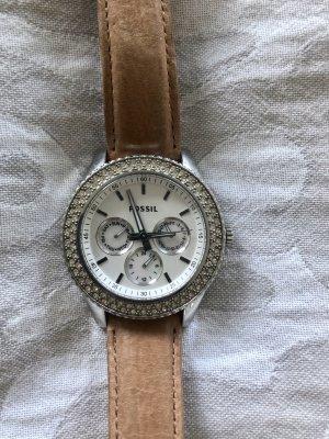 Fossil Zegarek ze skórzanym paskiem srebrny-biały