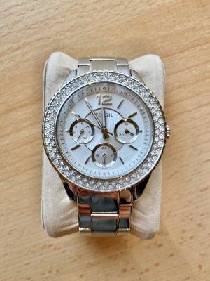 Fossil Zegarek z metalowym paskiem srebrny-jasnoszary