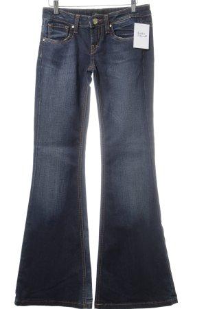 Fracomina Jeansschlaghose dunkelblau Used-Optik
