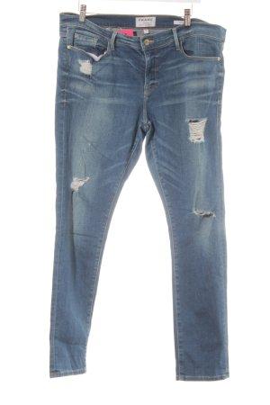 Frame Denim Skinny Jeans stahlblau Destroy-Optik