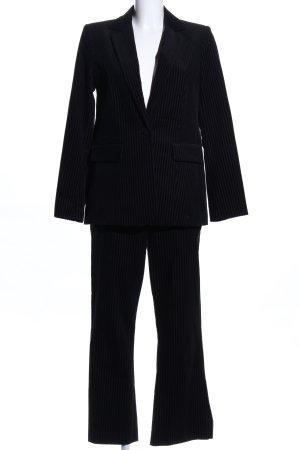 Trouser Suit black-light grey striped pattern business style