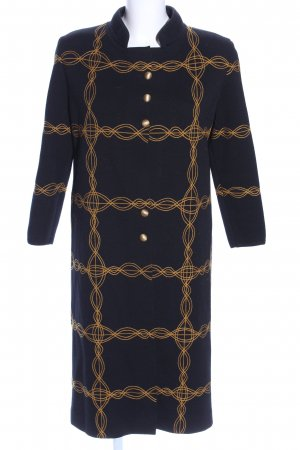 Abrigo de lana negro-naranja claro estampado a cuadros look casual