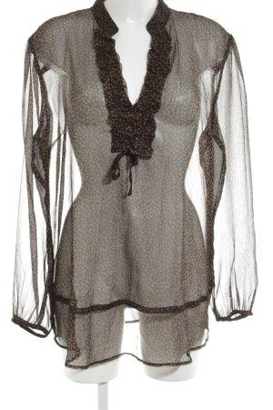 Franco Callegari Transparenz-Bluse schwarz-braun Allover-Druck Elegant