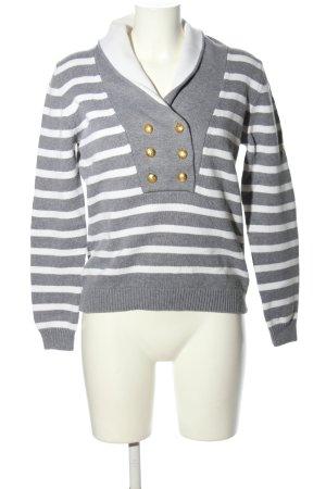 Franco Callegari Pull marin gris clair-blanc motif rayé style décontracté