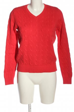 Franco Callegari V-Ausschnitt-Pullover rot Zopfmuster Casual-Look