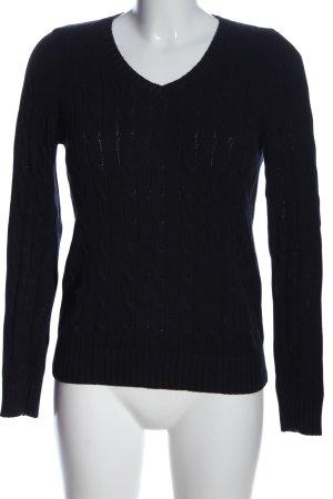 Franco Callegari V-Ausschnitt-Pullover blau Zopfmuster Casual-Look