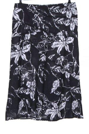 Frank Eden Midirock schwarz-weiß Blumenmuster Casual-Look