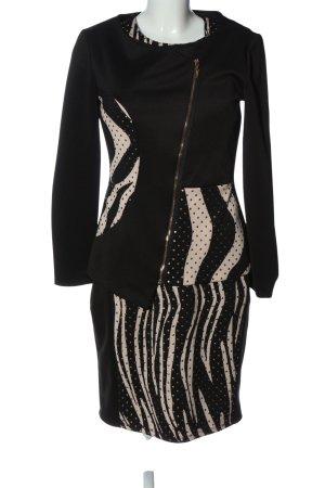 Frank Lyman Knitted Twin Set black-cream allover print elegant